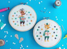 Funny Cross Stitch KIT- Giraffe / Cat / Rabbit / Fox / Deer Love Reading - http://etsy.me/1N3NiuM