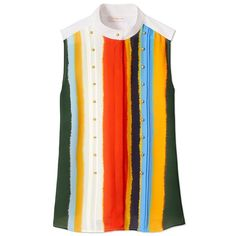 Tory Burch Bettina Top (€265) ❤ liked on Polyvore featuring tops, balloon stripe, button top, striped top, tie die tops, wet look top and tory burch tops