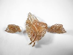 Vintage Goldtone Filigree Leaves Clip Earrings by CrowsNestJewels