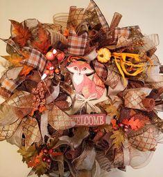 Fall Wreath, Happy Fall Y'all, Deco Mesh Wreath, Thanksgiving, Autumn home decor, Custom Sign, Large Deco Mesh wreath, Door Hanger, OOAK