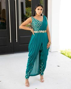 Saree With Pants, Saree With Belt, Dress Over Pants, Indian Outfits Modern, Indian Wedding Outfits, Indian Weddings, Pool Party Outfits, Modern Saree, Dress With Shawl