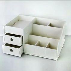 2d4eff2f6 Escritorio en casa de madera DIY caja de almacenamiento para maquillaje  cosméticos organizador de escritorio gabinetes