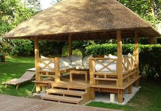 Teak gazebo / with thatched roof OASIS HONEYMOON
