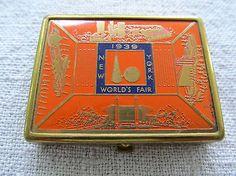Lipstick Holder, Travel Souvenirs, World's Fair, Exhibitions, Compact, Powder, Enamel, New York, Orange