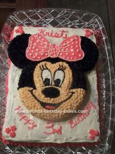 Homemade Minnie Mouse Birthday Cake: After trying to find the Wilton Minnie Mouse pan and could not, my husband and I decided to try our hand at designing our own Minnie Mouse Birthday Cake