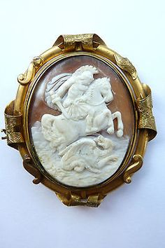 antique victorian saint george the dragon cameo swivel brooch