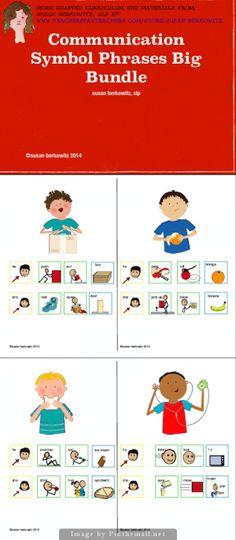 A big bundle of 7 communication symbol phrases practice resources. http://www.teacherspayteachers.com/Product/Communication-Symbol-Phrases-Bundle-for-AAC-Autism-Special-Education-1230829 for aac, autism, special ed