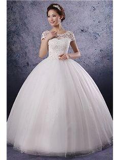 Unique Ball Gwon A-line/Princess Short Sleeves Lace Corset Bodice Wedding Dress Vintage Wedding Dresses - ericdress.com 10460350