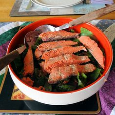 Seafood Salad With Blueberry Vinaigrette Honey Salmon, Paleo Bacon, Seafood Salad, Recipe Please, Salad Dressing, Meals For One, Dressings, A Food