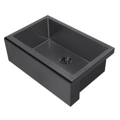 Whitehaus Collection Noah Plus All-in-One Farmhouse Apron Front 30 in. Stainless Steel Single Bow Kitchen Sink in Matte Black Sink - The Home Depot Copper Farm Sink, Stainless Steel Farmhouse Sink, Stainless Steel Sinks, Single Bowl Kitchen Sink, New Kitchen, Kitchen Sinks, Kitchen Ideas, Kitchen Decor, Farmhouse Apron Sink