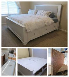 DIY king bed plans. Costs about $500 to make. Looks just like one I'm in love with from Pottery Barn that costs about $2,000.