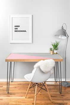 Allyson Johnson Pink n stripes Desk | DENY Designs Home Accessories