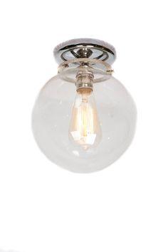 $89 US plus shipping Flush Mount Chrome 8″ Glass Globe Edison Light