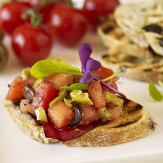 Plum tomatoes that have been invigorated with olives and combined with a rich pesto of herbs and spices for a wealth of rustic flavour. That's our Tomato & Olive Bruschetta.