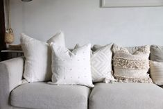Summer Decor Home Tour - christina Neutral Pillows, Small Space Living, Living Area, Living Spaces, Ikea Vimle Sofa, Tufted Storage Bench, Ikea Living Room, Wicker Tray