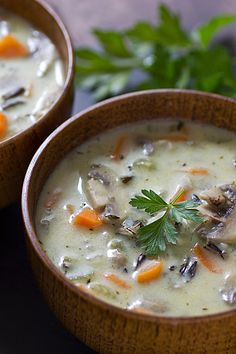 Creamy Wild Rice & Mushroom Soup (would not add the sour cream personally, maybe some coconut milk?)