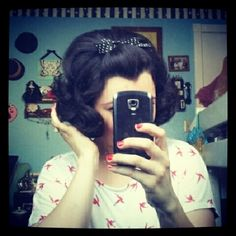 "..these ""take a pic in the mirror w/ your phone"" photos still strike me as odd...old fashioned! Love the hairdo ;)"