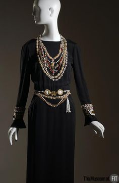 Evening Dress, Chanel, 1983, French, silk crepe with trompe-l'oeil embroidered jewelry by Lesage