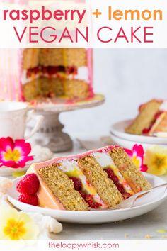This beautiful and delicious vegan raspberry & lemon cake features fluffy vegan sponges, luscious vegan frosting and a vegan lemon curd drip. Vegan Buttercream, Vegan Frosting, Healthy Dessert Recipes, Cake Recipes, Vegan Recipes, Vegan Lemon Curd, Raspberry Lemon Cakes, Vegan Sweets, Savoury Cake