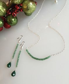 Emerald Bar Necklace-Faceted Emerald Rondelles on a Sterling Silver Chain-Holiday Necklace  This necklace is shipped in Fig Leaf Adornments