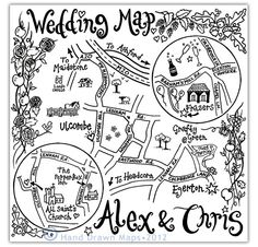 Hand Drawn Maps | Bespoke wedding and event maps |