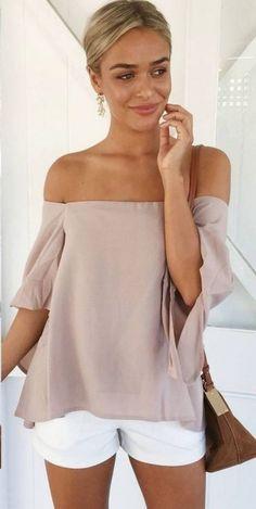 stylish look   blush off shoulder blouse + white shorts + bag
