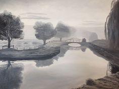 Título: Paisaje niebla, técnica grisalla. Diciembre 2015