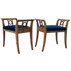 Pair of Swedish Art Deco Benches in Golden Flame Birch by SMF
