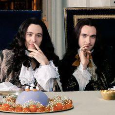 Alexander Vlahos as Monsieur Philippe Duc D'Orleans & George Blagden as the Sun King Louis XIV in season 2 of the canal+ series Versailles