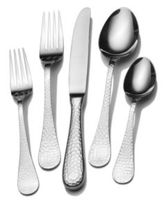 Wallace Flatware 18/10, Continental Hammered 45 Piece Set - Flatware & Silverware - Dining & Entertaining - Macy's $89.99 less 15%