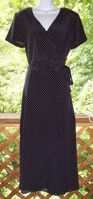Vintage 1970s Black & White Polka Dot Dress FAB Size 18 to 20 Half Wrap CHIC