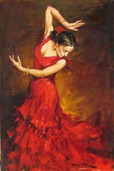 125 cm Red Dress Flamenco Dancer Oil Painting on Canvas Large Abstract Portrait Canvas Wall Art for Living Room Decoration Art Expo, Spanish Dancer, Dance Paintings, Painting Art, Dance Art, Dance Ballet, Beautiful Paintings, Art Oil, Impressionist