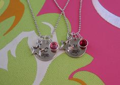 Initial necklace with star charm and birthstone crystal. $8 on Etsy. What a great gift idea for a little girl.