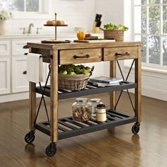 Crosley Furniture Roots Rack Industrial Kitchen Cart (Natural), Tan #industrialfurniture