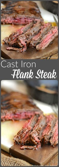 Cast Iron Flank Steak is a lean, economical dinner recipe with huge beef flavor. My family loves this recipe! Cast Iron Flank Steak is a lean, economical dinner recipe with huge beef flavor. My family loves this recipe! Skirt Steak Recipes, Flank Steak Recipes, Meat Recipes, Whole Food Recipes, Cooking Recipes, Mexican Recipes, Casserole Recipes, Recipes Dinner, Dinner Ideas