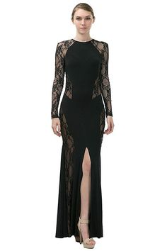 Lace Front Slit Maxi Dress - SoTrendyish - 1