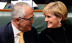 Australian Prime Minister Malcolm Turnbull and Foreign Minister Julie Bishop confer during Question Time in the House of Representatives at Parliament House in Canberra. Tony Abbott, minister for women, set a low bar. Malcolm Turnbull must do better