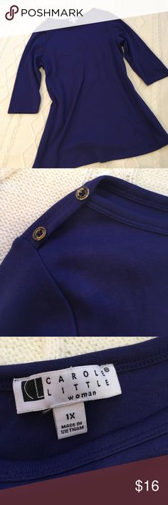 NWOT Carole Little Top Bluish/purple Top with gold button accents on each shoulder and small slits on the bottom of each side. Size 1X. 💕 Carole Little Tops