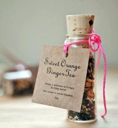 DIY Sweet Orange Tea Favors - RECIPE & FREE Printable Tags - These little tea-filled, glass vials make an extraordinary tea party favor / HGTV