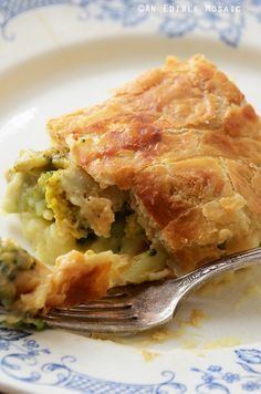 Leftover Turkey, Mashed Potato, and Broccoli Puff Pastry Pie.