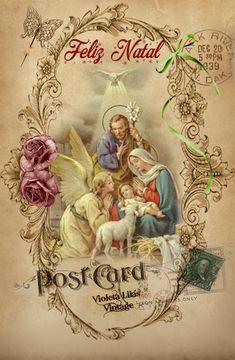 Violeta lilás Vintage: Cartão Postal de Natal - Vintage