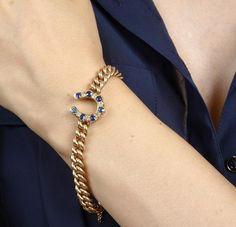 The yellow gold Albert #chain #bracelet with a #diamond and #sapphire #horseshoe by @turnerandtatler is both #unique and #beautiful!