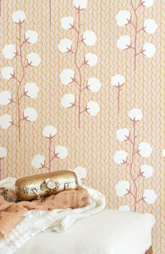 Soft as cotton . this wallpaper literally has cotton plant graphics on top of a woven knit blanket pattern - I'm living for it! This would be so cute for a baby nursery room! Graphic Wallpaper, Retro Wallpaper, Brainstorm, Easy Up, Cotton Plant, Wallpaper Stores, Stunning Wallpapers, My Secret Garden, Knitted Blankets