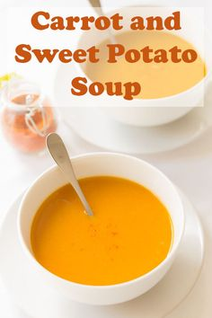 Healthy Meals This healthy carrot and sweet potato soup recipe is delicious and simple to make. Vegan and gluten free it's also low calorie and filling too. Dairy free, it's a soup that gives you a warming hug just when you need it most! Quick Healthy Meals, Healthy Soup Recipes, Gourmet Recipes, Cooking Recipes, Simple Soup Recipes, Celiac Recipes, Low Fat Cooking, Dairy Free Soup, World Recipes