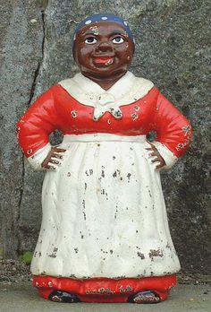 Antique Cast Iron Aunt Jemima Door Stop circa 1900