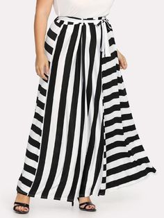 75adfbb62d1 Shop Plus Contrast Striped Belted Skirt online. SheIn offers Plus Contrast  Striped Belted Skirt   more to fit your fashionable needs.