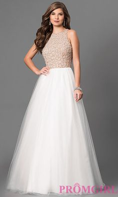 Image of Long Sky Blue Beaded High Neck Prom Dress Style: TI-P0181 Front Image