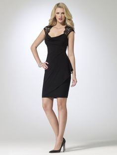 Matte jersey cowl neck dress with lace open back and cap sleeves. Ruched back with hidden zipper. Padded cups. Button closure at back of neck. 38 inch body length92% polyester, 8% spandexLace: 55% nylon, 45% rayonLining: 100% polyesterImportDry clean only