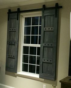 Interior Window Barn Shutters - Sliding Shutters - Barn Door Shutter Hardware Packages Available - Farmhouse Style - Rustic Wood Shutter Barn Door Window, Interior Windows, Shutter Doors, Interior Shutters, Barn Door Shutters, Brick Exterior House, Doors Interior, Wood Doors Interior, Rustic House