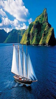 The Shenandoah of Sark is a classic 3 masted sailing yacht built in Back in 2004 I had seen the yacht at the Marina in Tahiti and… Old Sailing Ships, Sailing Holidays, Tall Ships, Water Crafts, Nature Pictures, Kayaking, Nature Photography, Beautiful Places, Scenery
